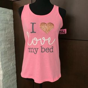 Roll Outta Bed Pink racerback tank love my bed L